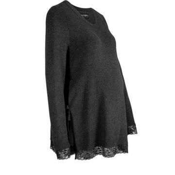 Antracytowy sweter ciążowy wiązany na bokach 42