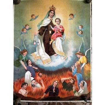 Przedwojenny oleodruk Panna z Góry Karmelu - kolor