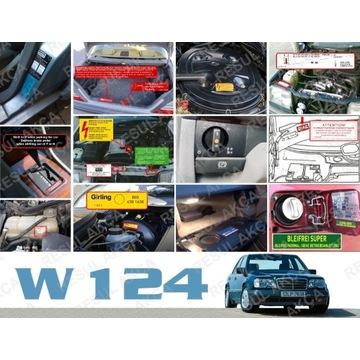 W124 naklejki tabliczka mercedes ciśnienie opon