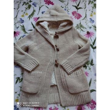 Zara sweter płaszcz ocieplany barankiem 128/134 cm