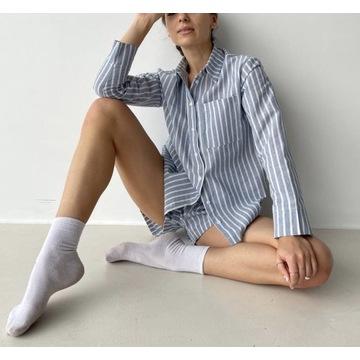 Lniany zestaw M/L koszula i spodenki len piżama