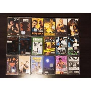 Zestaw 18 oryginalnych kaset magnetofonowych rap
