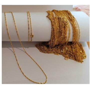 Łańcuszek grubo złocony 18 karatowym złotem