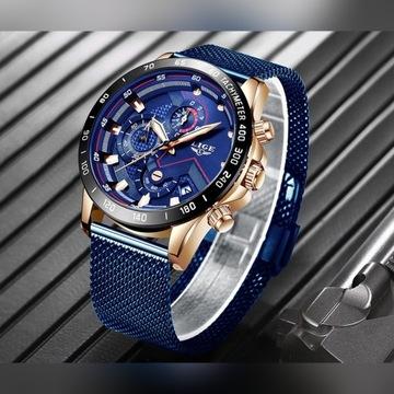 Zegarek LIGE męski z chronografem.