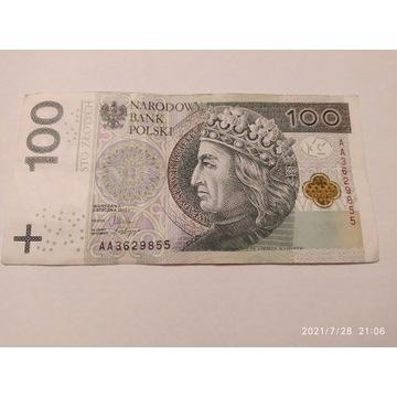 "BANKNOTY  100 PLN SERIA ""AA"""
