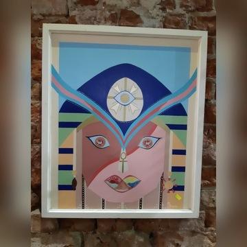 obraz malowany na desce farbą olejną