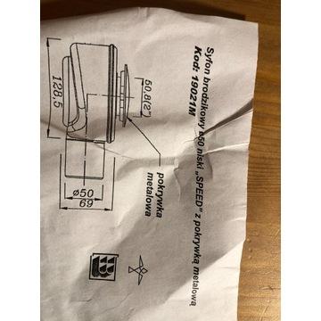 Syfon brodzikowy niski z pokrywka metalowa