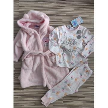 Piżama bluzka spodnie szlafrok Peppa 86/92