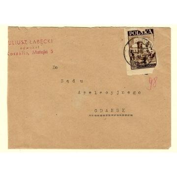 Koperta z 1947r ze znaczkiem nr 408 do SA  Gdańsk