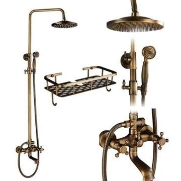 Mosiężny Regulowany Zestaw Prysznicowy +Półka