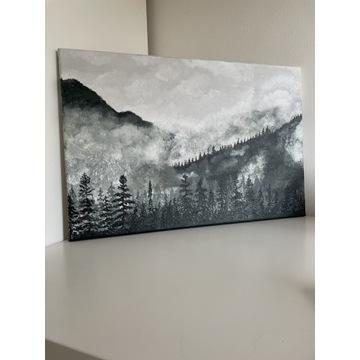 """Ręcznie malowany obraz ,,Las we mgle"""""""