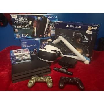 Zestaw Playstation 4 PRO PS4 VR Gry Pady 1TB GWAR.