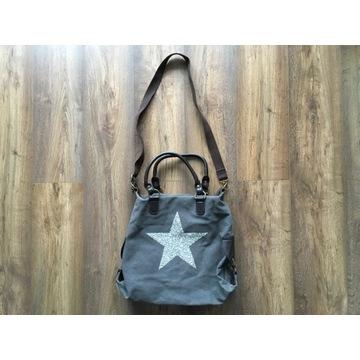 Bardzo dobrze wykonana torba torebka z gwiazdą,gru