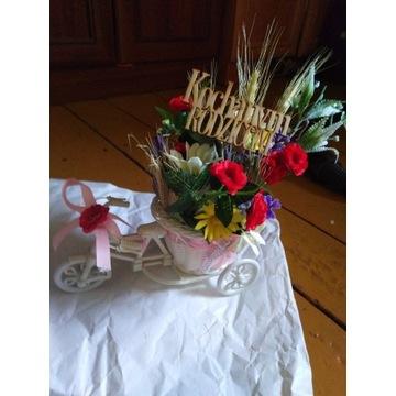 Rowerek z kwiatami podziękowanie prezent
