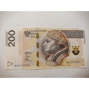 Banknot 200 zł BX7777777