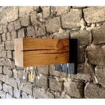 Kinkiet drewniany lampa loft scienna industrialna