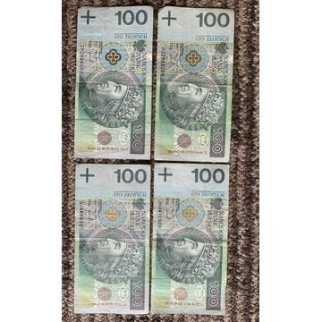 """4x banknoty 100 PLN z """"666"""""""