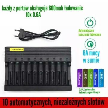Ładowarka li-ion 10 slotów 6A Automatyczna