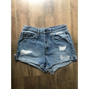 Spodenki szorty jeansowe przetarcia H&M 34