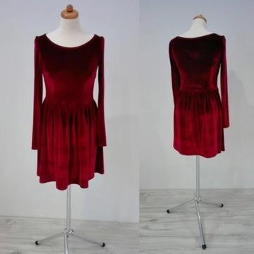 Sprzedam sukienkę z weluru elegancką czerwoną XL
