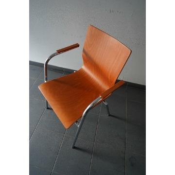 Krzesło biurko drewniane chrom