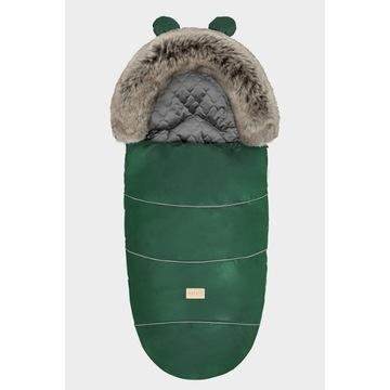 Zimowy śpiworek do wózka zielony