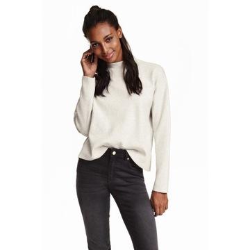 Bawełniany biały sweter z półgolfem H&M Basic r. S