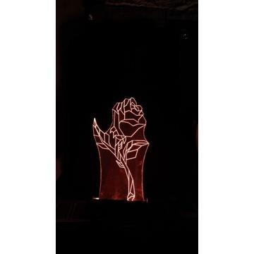 Lampa  Statuetka LED Prezent Plexi -Róża 1