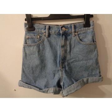Damskie szorty jeansowe. Wysoki stan. rozmiar 34