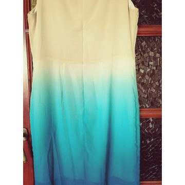 Sukienka damska letnia bialo niebieska 38