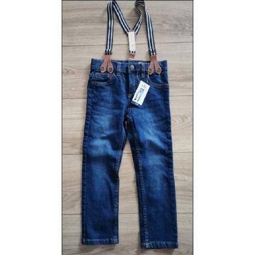 Spodnie z szelkami 104 nowe