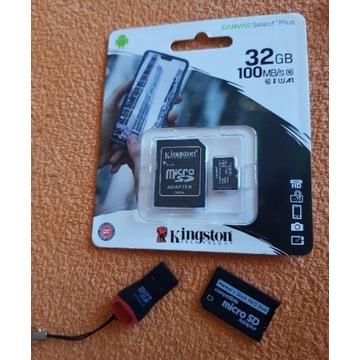 Karta micro sd kingston 32gb adapter mspro duo PSP