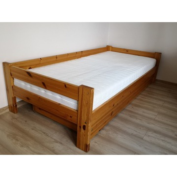 łóżko sosnowe drewniane + materac 90x200cm