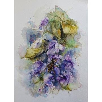Osa na kwiatach Klarodendrum - Akwarela A4
