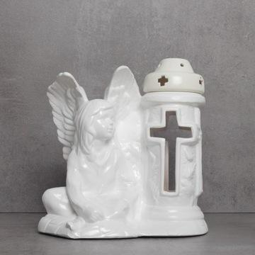 Znicz ceramiczny anioł z kapliczką duży 28 cm