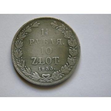 Rubel - 1 1/2 rubla 10 Złot. 1835 r, n-g, - rzadki