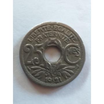 25 CENTYMÓW z 1921 roku - FRANCJA, piękna ODWROTKA