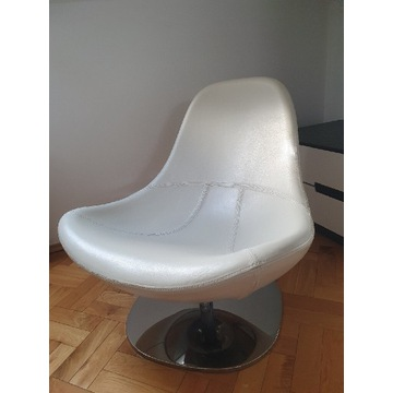 IKEA TIRUP - biały, obrotowy fotel skórzany