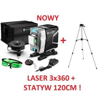 Laser krzyżowy 3x360° 12 linii 3D DEKO + STATYW