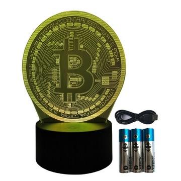 Bitcoin Lampka Nocna 3D Led