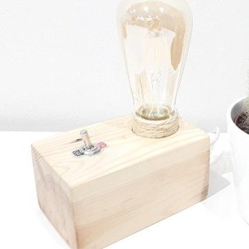Stołowa, biurkowa lampka drewniana loft, vintage.
