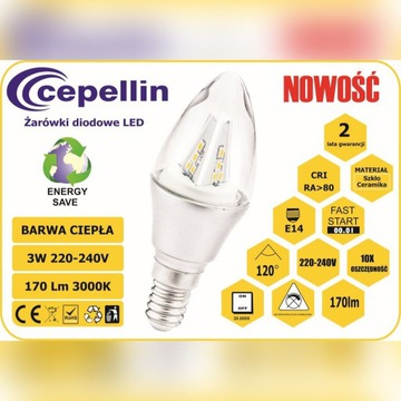 Żarówka LED C35-S 3W. 3000K, 170LM, Gwint  E14