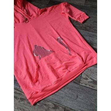 Bluza Neonowy różowo- morelowa kangurka z kotem