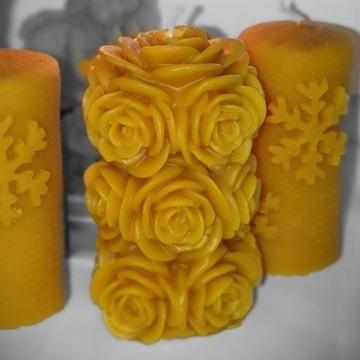 Świeczki z wosku pszczelego różana prezent