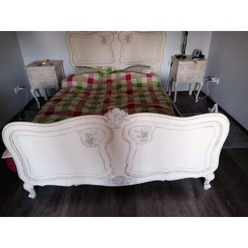 Łóżko stylizowane dębowe krem w bieli 140/200