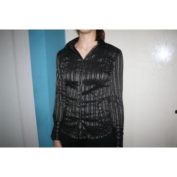 bluzka koszula damska czarna 36 S złote paski Zara