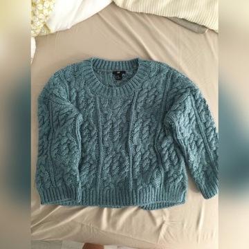Niebieski sweter H&M rozmiar 34 XS gruby, ciepły