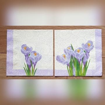 Serwetki do decoupage kwiaty krokusy 33x33-2szt.