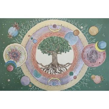 Obraz mandala drzewo życia ręcznie malowany A3