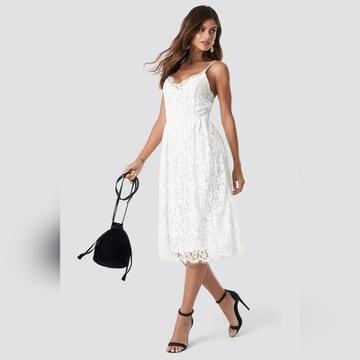 sukienka biała koronkowa NAKD 38 M na ramiączka
